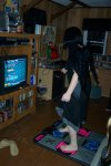 Rachel showing off on DDR.
