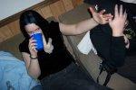Rachel hiding Smut's face.