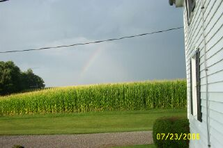 Rainbow over Ann & Jerry's cornfield.